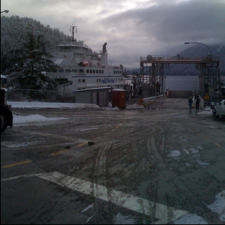 Winter wait for a ferry